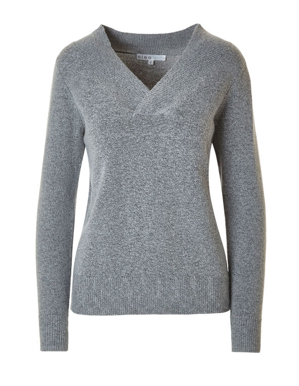 Grey Cross Neckline Sweater, Grey, hi-res