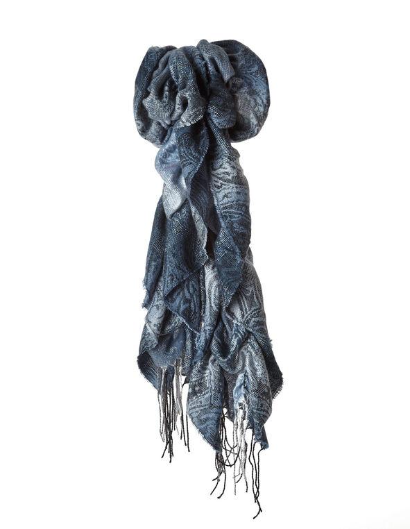 Blue Paisley Boa Ruffle Scarf, Blue, hi-res