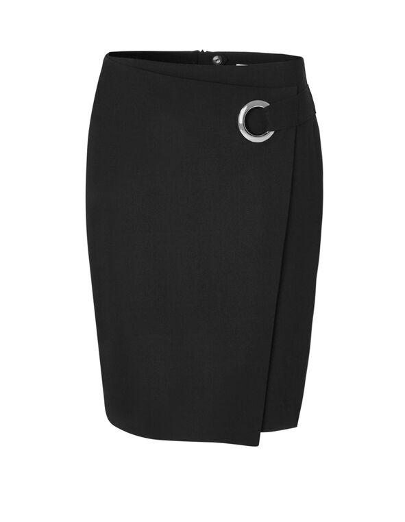 Black Side Grommet Pencil Skirt, Black, hi-res