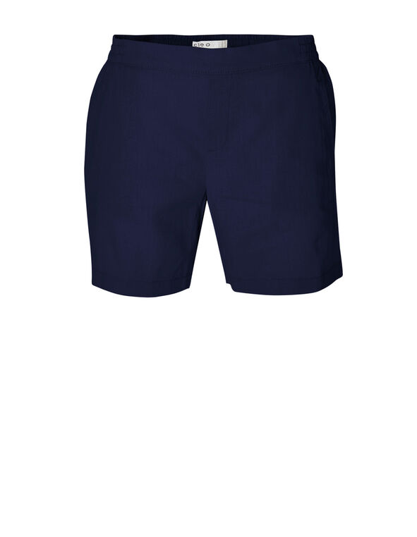 Navy Linen Cotton Blend Short, Navy, hi-res