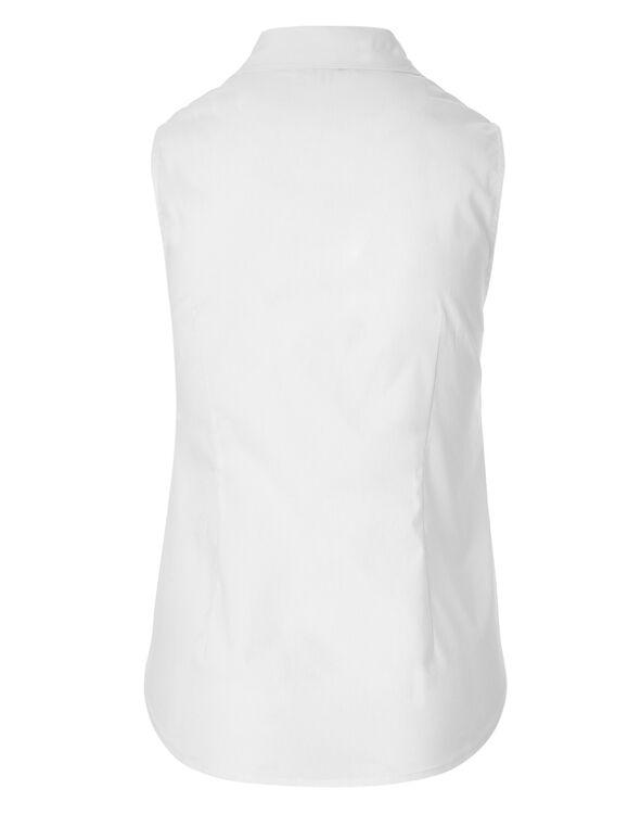 White Button Front Blouse, White, hi-res