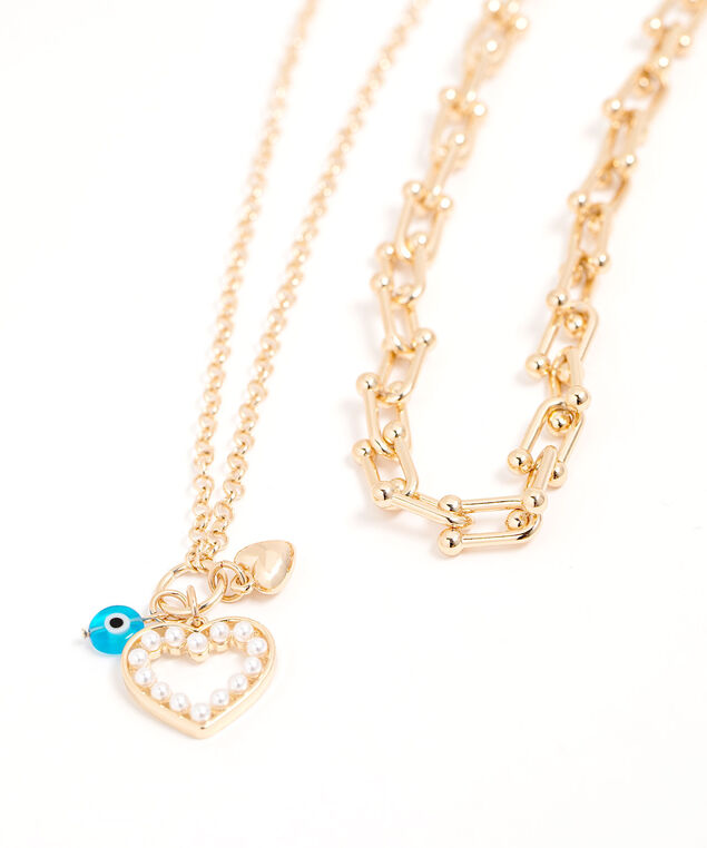 Heart Eye Convertible Charm Necklace, Gold