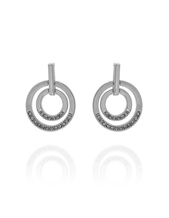 Silver Circular Crystal Earring, Silver, hi-res