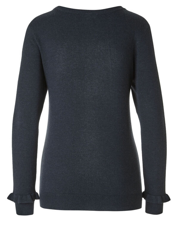Navy Crew Neck Sweater, Navy, hi-res