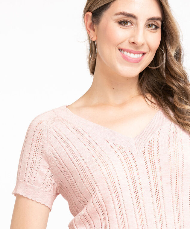 Pointelle Knit Short Sleeve Sweater, Soft Pink Mix