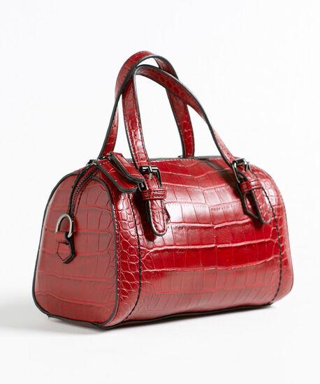 Red Croco Small Barrel Handbag, Red, hi-res