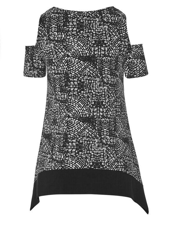 Black Printed Cold Shoulder Top, Black/White, hi-res