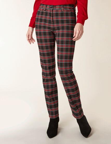 Ruby Plaid Butt Lift Slim Pant, Black/Red, hi-res