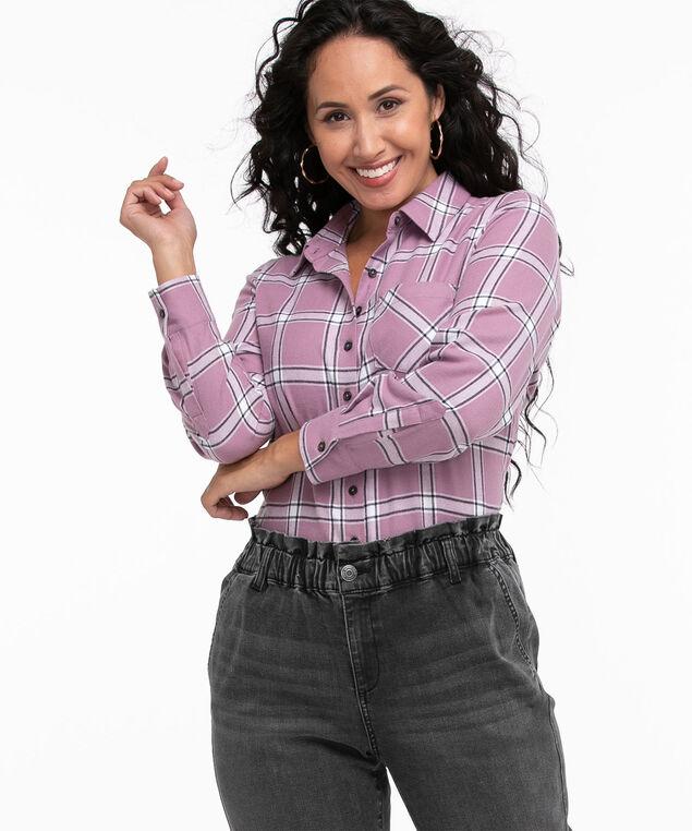 Cotton Flannel Shirt, Purple Plaid