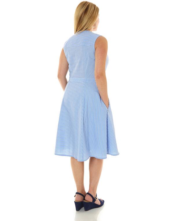 Blue Striped Cotton Fit & Flare Dress, Blue, hi-res