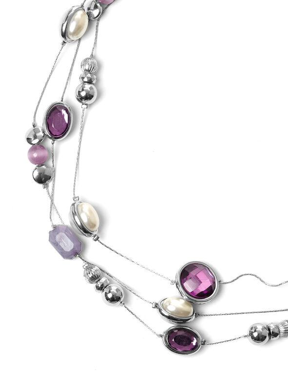 Purple Mixed Necklace, Silver/Purple, hi-res