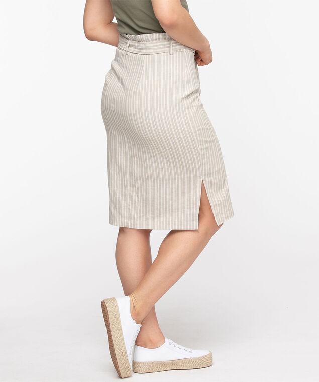Linen Blend Button Front Pencil Skirt, Stone Stripe