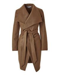Caramel Faux Wool Wrap Coat