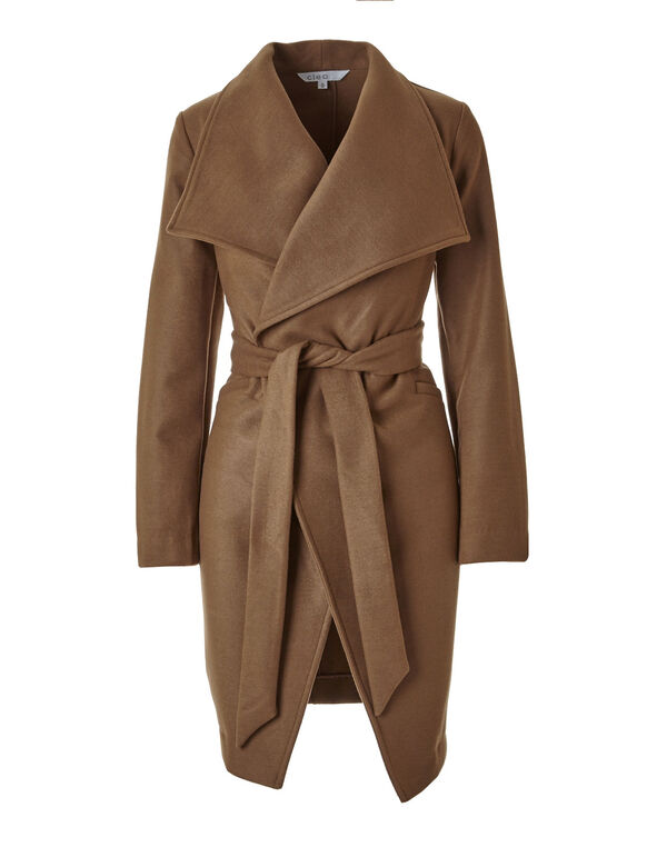 Caramel Faux Wool Wrap Coat, Caramel, hi-res