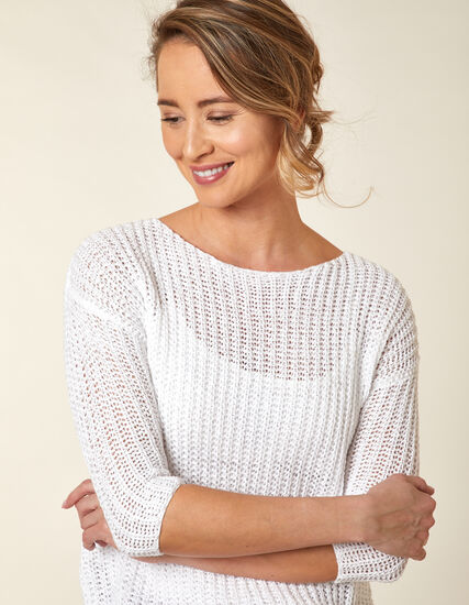 Open Knit Sweater, White, hi-res