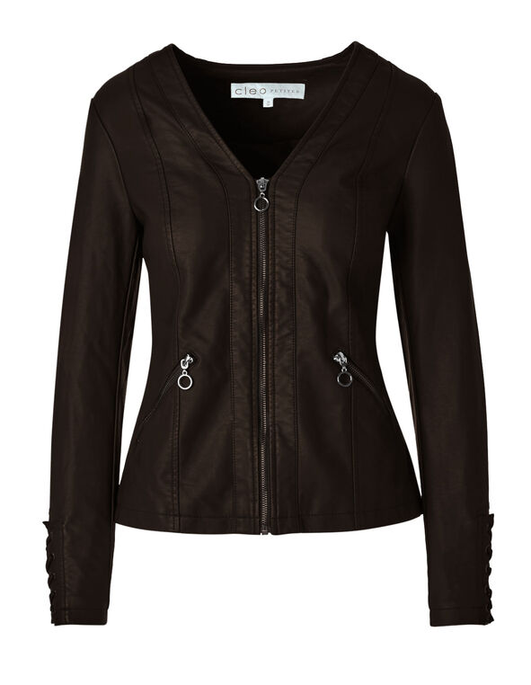 Brown Lace Up Faux Leather Jacket, Brown, hi-res