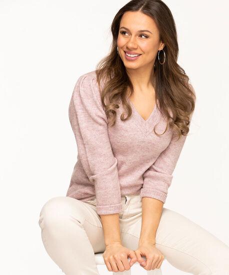 V-Neck Puff Shoulder Sweater, Pink Mix, hi-res
