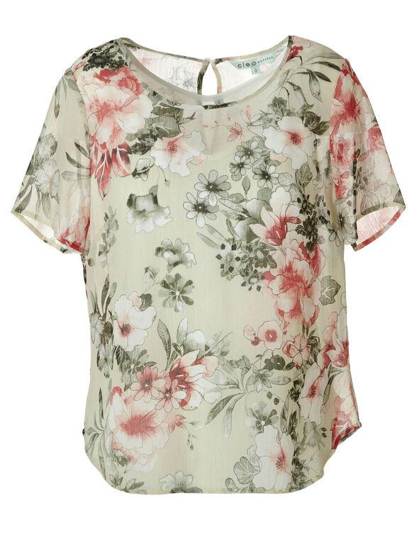 Floral Print Blouse , Green, hi-res