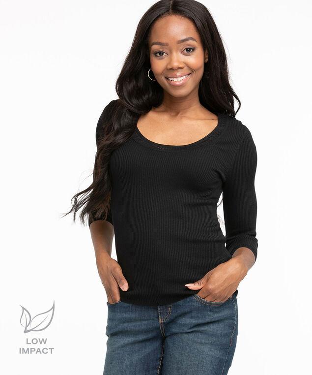 Low Impact 3/4 Sleeve Sweater, Black