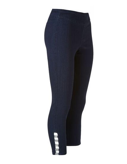 Dark Wash Slim Leg Ankle Jean, Navy, hi-res