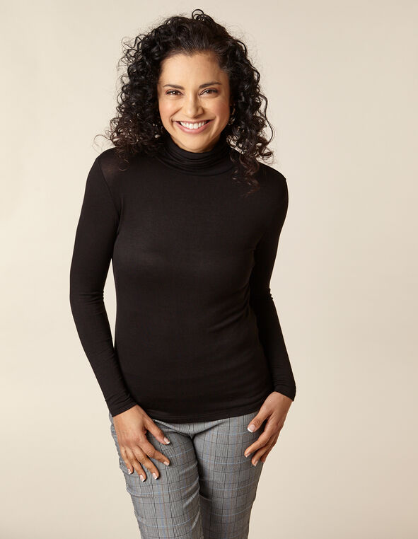 Black Knit Mock Neck Top, Black, hi-res