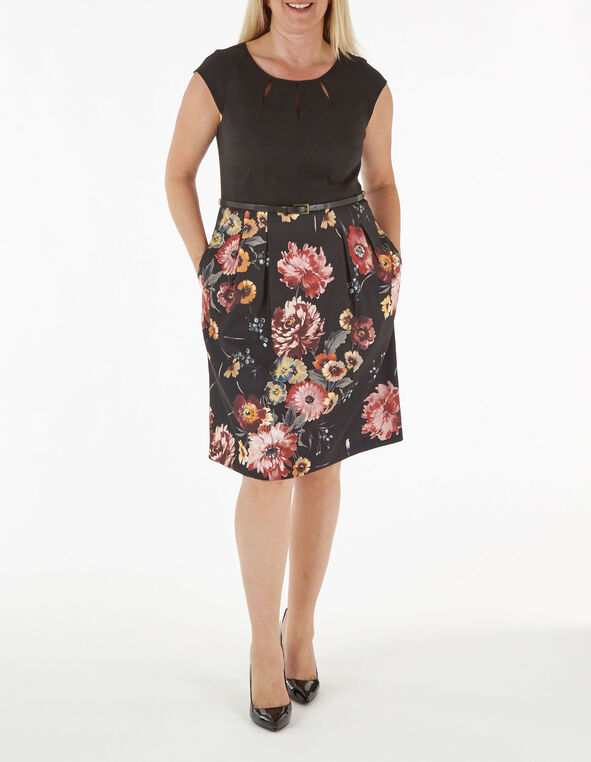 Navy Floral Fit & Flare Dress, Navy, hi-res