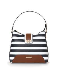 Navy Striped Hobo Handbag