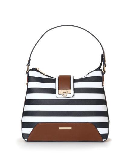 Navy Striped Hobo Handbag, Navy/White, hi-res