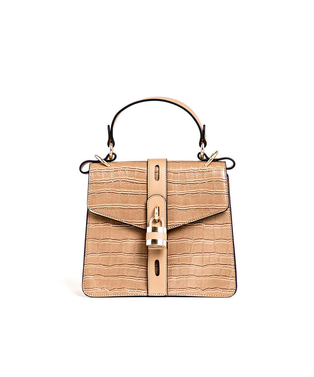 Taupe Croco Gold Lock Handbag, Taupe/Gold Metal