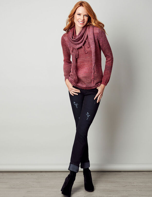 Berry Removable Scarf Sweater, Raspberry, hi-res
