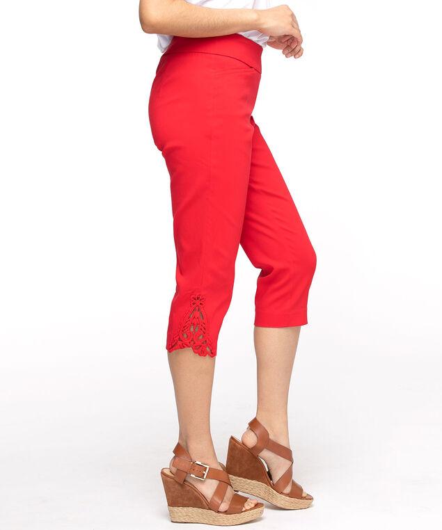 Cherry Red Lace Hem Slim Capri, Red