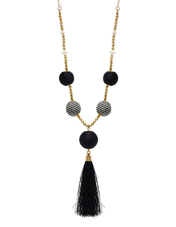 Black Patterned Bobble Necklace, Gold, hi-res