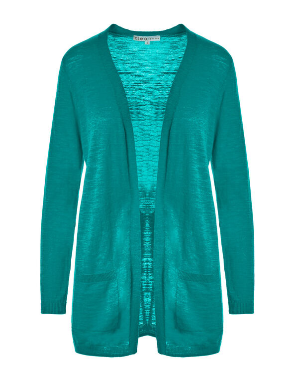 Teal Long Slub Cardigan, Teal, hi-res