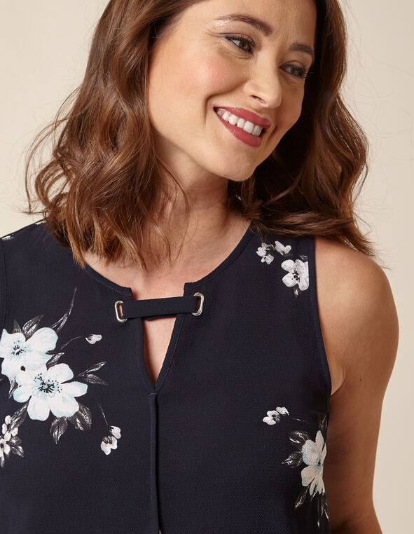 Navy Floral Sleeveless Keyhole Top, Navy, hi-res