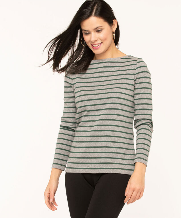 Long Sleeve Boat Neck Tee, Grey/Green Stripe