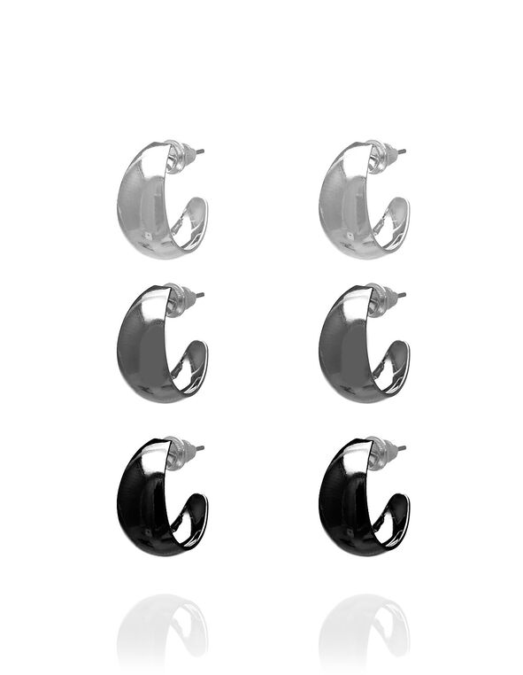 Small Hoop Earring Trio Set, Silver, hi-res