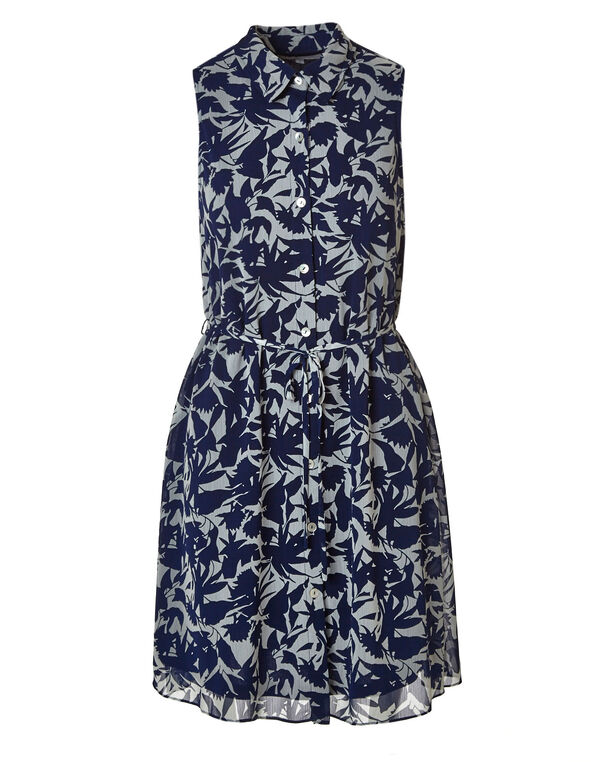 Floral Collared Button Down Dress, Navy, hi-res