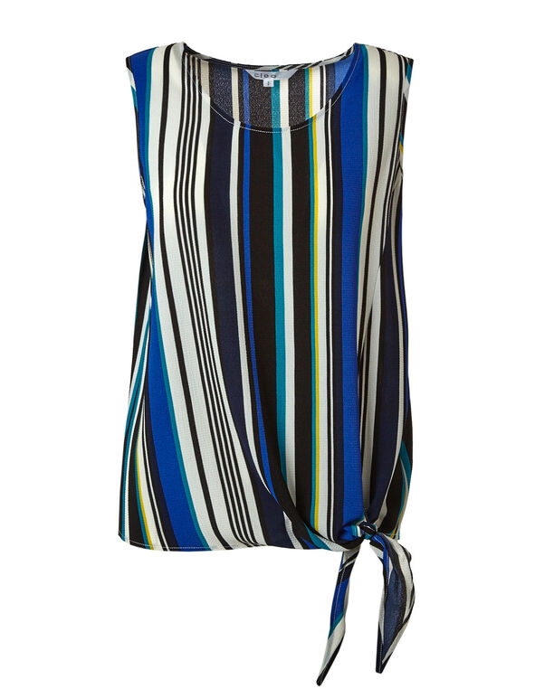 Mix Stripe Tie Front Crepe Blouse, Blue/Black, hi-res