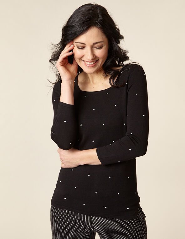 Black Dot Square Neck Sweater, Black, hi-res