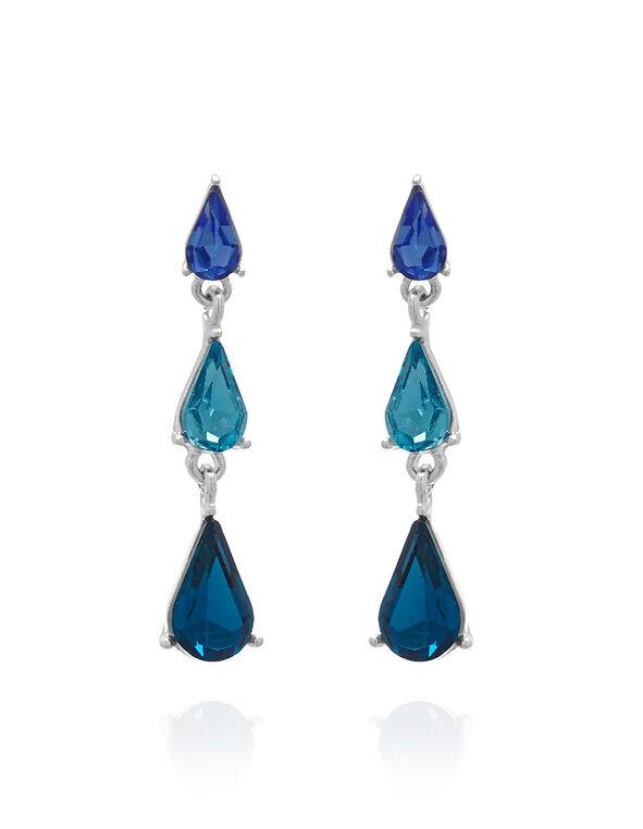 Turquoise Teardrop Crystal Earring, Blue, hi-res