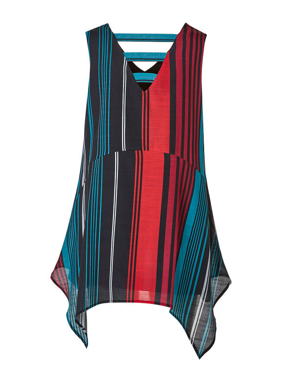 Shark Bite Tunic, Black/Teal/Red, hi-res