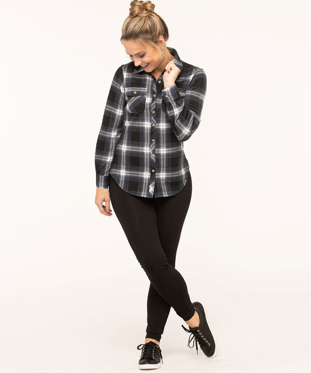 Navy Plaid Button Front Top, Navy/Black/Ivory, hi-res