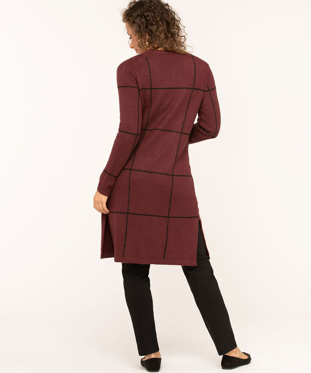 Windowpane Long Open Cardigan, Mulberry, hi-res