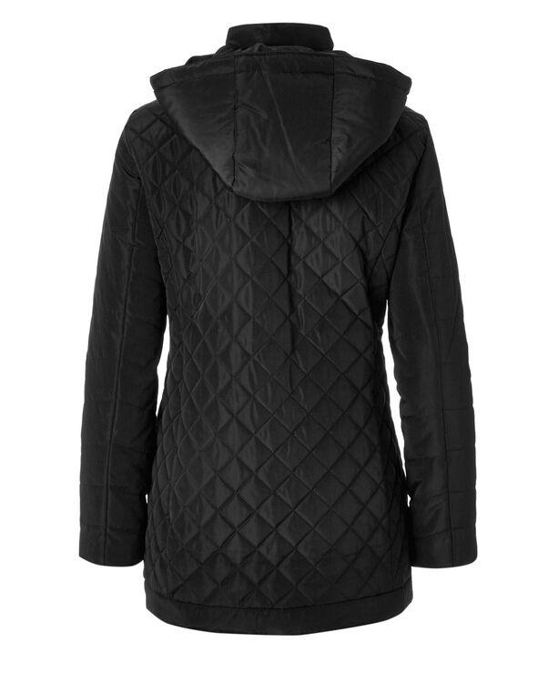 Black Quilted Diamond Coat, Black, hi-res
