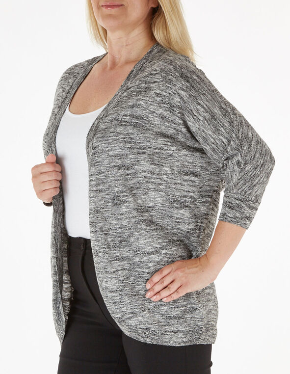 Grey Cocoon Slub Cardigan, Black, hi-res