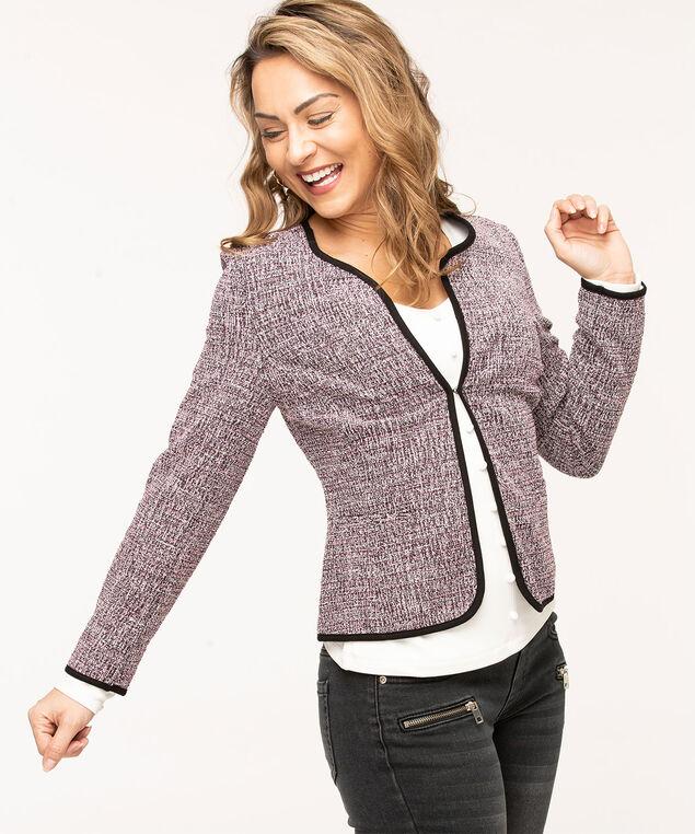 Collarless Pink Jacquard Knit Jacket, Black/Pink Mix