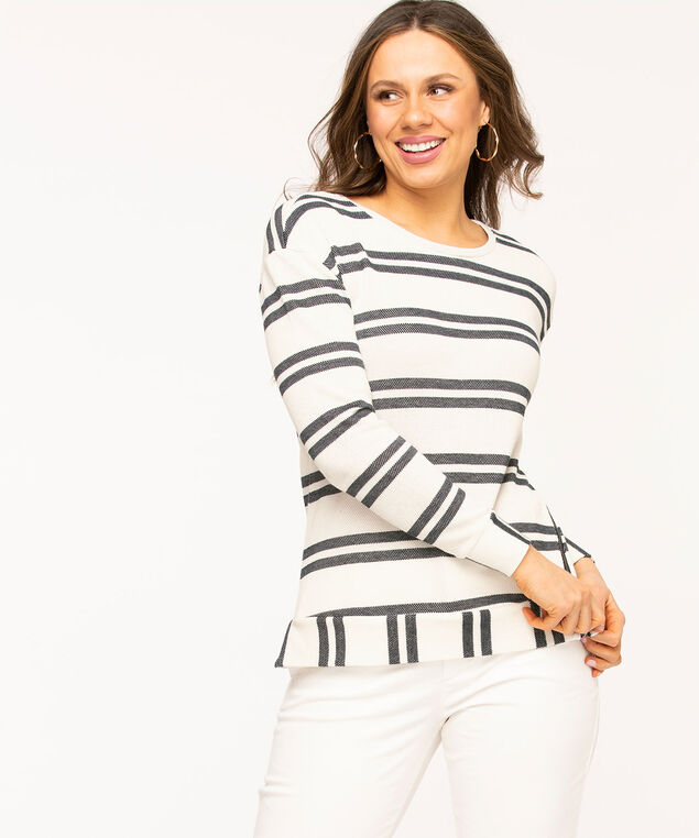 Navy Stripe Zipper Detail Pullover, Navy/White