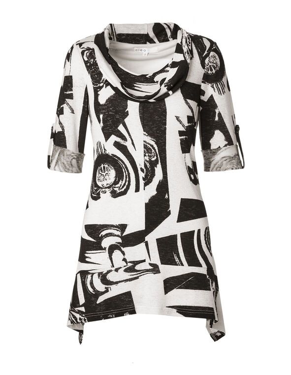 Ivory Abstract Printed Tunic Top, Ivory/Black, hi-res