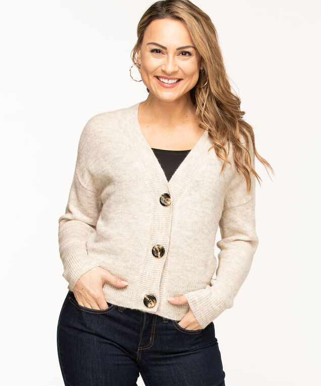 Button Front V-Neck Cardigan, Oatmeal Mix