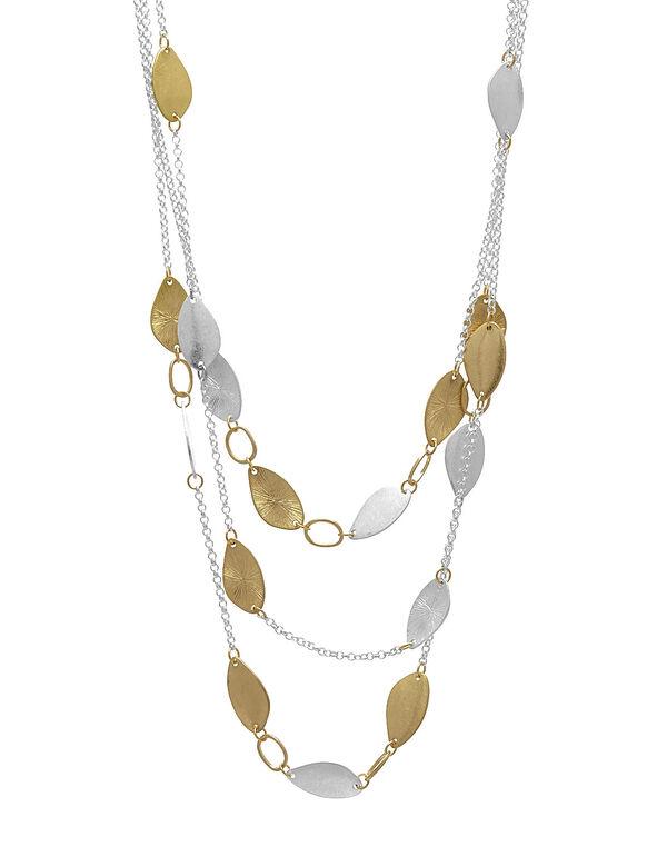 Silver & Gold Short Leaf Necklace, Silver, hi-res